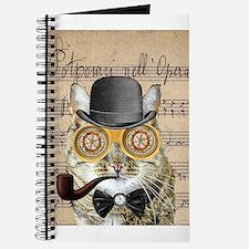 Victorian Steampunk Cat Derby Hat Pipe Collage Jou