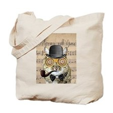 Victorian Steampunk Cat Derby Hat Pipe Collage Tot