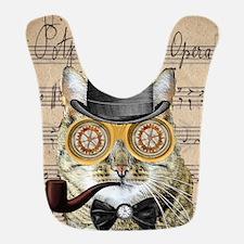 Victorian Steampunk Cat Derby Hat Pipe Collage Bib