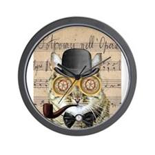 Victorian Steampunk Cat Derby Hat Pipe Collage Wal