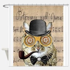 Victorian Steampunk Cat Derby Hat Pipe Collage Sho