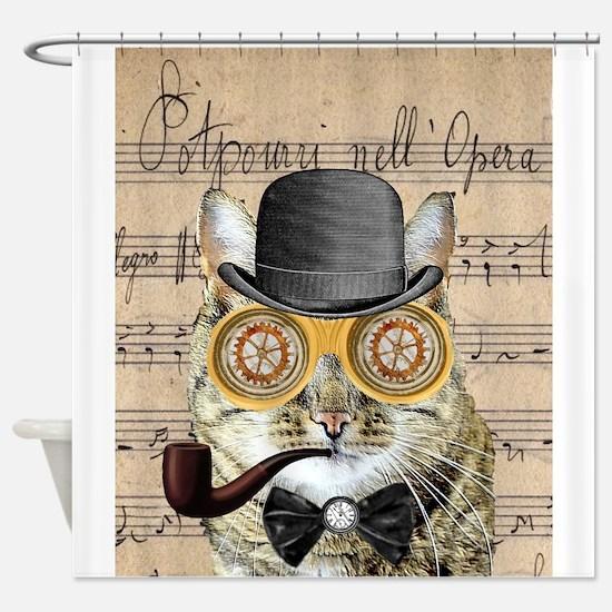 Victorian Steampunk Cat Derby Hat Pipe Collage Sho