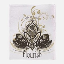 Love Lotus - Brown on Light Throw Blanket