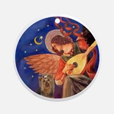 J-ORN-Angel3-Yorkie7 Round Ornament