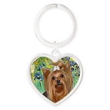J-ORN-Irises-Yorkie7 Heart Keychain