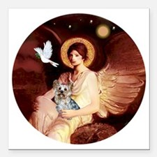 "J-ORN-Angel1-Yorkie-T Square Car Magnet 3"" x 3"""