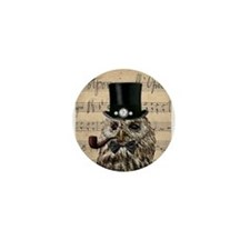 Victorian Steampunk Owl Sheet Music Mini Button