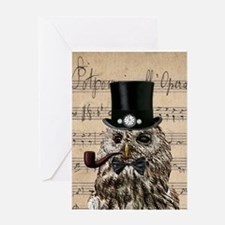 Victorian Steampunk Owl Sheet Music Greeting Cards