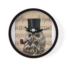 Victorian Steampunk Owl Sheet Music Wall Clock