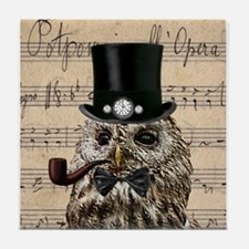 Victorian Steampunk Owl Sheet Music Tile Coaster
