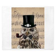Victorian Steampunk Owl Sheet Music King Duvet