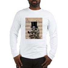 Victorian Steampunk Owl Sheet Music Long Sleeve T-