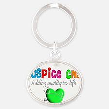 Hospice CNA Green Heart Oval Keychain