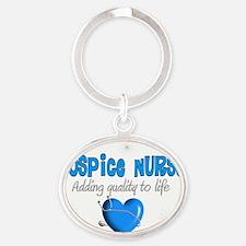 Hospice Nurse BIG BLUE HEART Oval Keychain