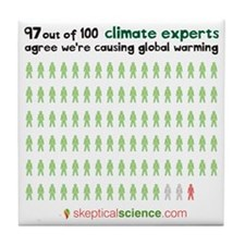 97 out of 100 climate experts Tile Coaster