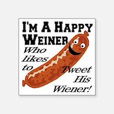 """happy_weiner Square Sticker 3"""" x 3"""""""