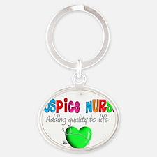 Hospice Nurse GREEN HEART Oval Keychain