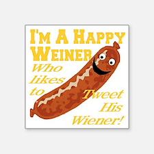 """happy_weiner_transparent02 Square Sticker 3"""" x 3"""""""