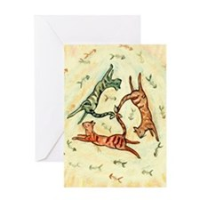 Three Cats Greeting Card
