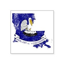 "Louisiana Flag Map Square Sticker 3"" x 3"""