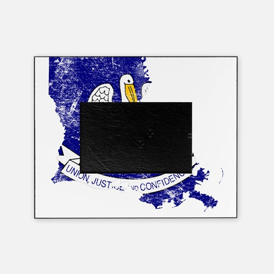 Louisiana Flag Map Picture Frame