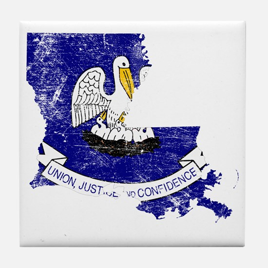Louisiana Flag Map Tile Coaster
