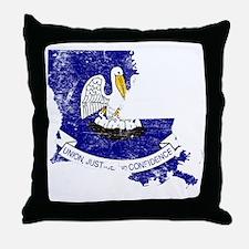 Louisiana Flag Map Throw Pillow