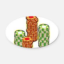 Poker Chips Oval Car Magnet