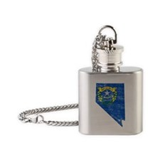 Nevada Flag Map Flask Necklace