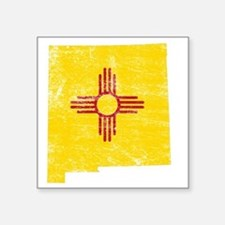 "New Mexico Flag Map Square Sticker 3"" x 3"""