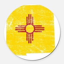 New Mexico Flag Map Round Car Magnet