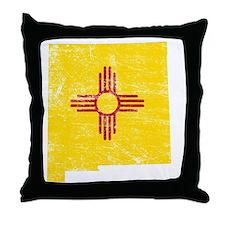 New Mexico Flag Map Throw Pillow