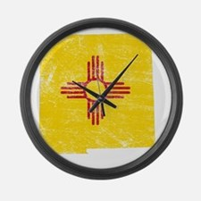 New Mexico Flag Map Large Wall Clock