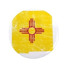 "New Mexico Flag Map 3.5"" Button"