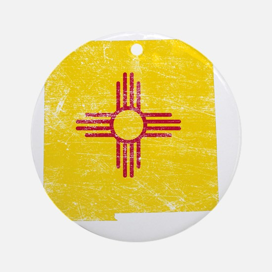 New Mexico Flag Map Round Ornament