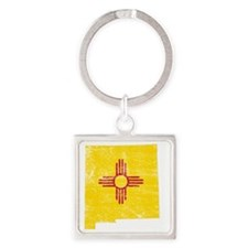 New Mexico Flag Map Square Keychain