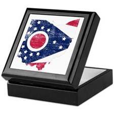 Ohio Flag Map Keepsake Box