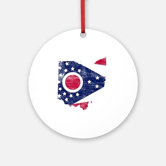 Ohio Flag Map Round Ornament
