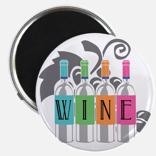 Wine-Bottles-blk Magnet