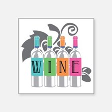"Wine-Bottles-blk Square Sticker 3"" x 3"""