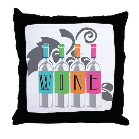 Wine-Bottles-blk Throw Pillow