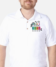 Wine-Bottles-blk Golf Shirt