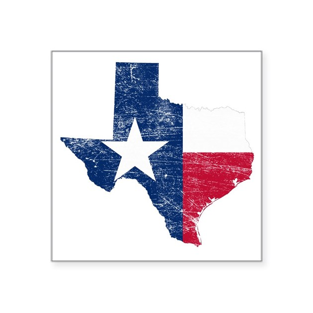 Texas Flag Map Square Sticker 3quot X 3quot By Admin_CP32675852