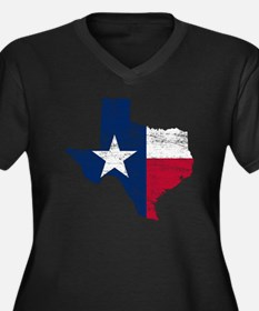 Texas Flag M Women's Plus Size Dark V-Neck T-Shirt