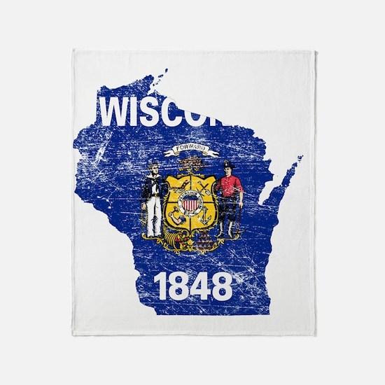 Wisconsin Flag Map Throw Blanket