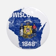 Wisconsin Flag Map Round Ornament