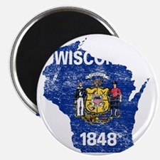 Wisconsin Flag Map Magnet