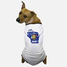Wisconsin Flag Map Dog T-Shirt