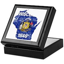 Wisconsin Flag Map Keepsake Box