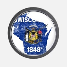 Wisconsin Flag Map Wall Clock